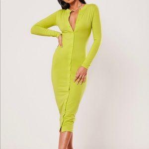 Lime Green Button Dress